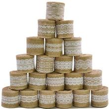 2m 5cm cinta de arpillera yute Vintage rústico manualidades DIY para bodas decoración de lazo de arpillera de yute rollo Feliz Navidad suministros para fiesta en casa