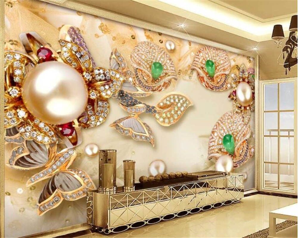 beibehang Fashion Golden Fashion Wallpaper 3D Stereo Gold Glasses Diamond Flowers Jewelry Walls wallpaper for walls 3 d tapety