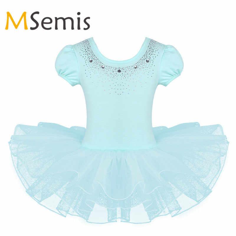Çocuk Kız Bale Elbise Örgü Kısa Kabarcık Kollu Sparkly Rhinestones Tutu Bale Dans Jimnastik Leotard Kız Tutu Elbise