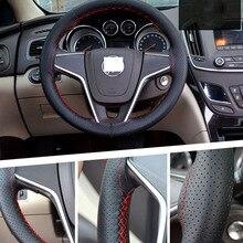 Araba direksiyon kılıfı 38cm 40CM el dikişli DIY mikrofiber JANT KAPAĞI araba ile iğne ve iplik iç aksesuarları