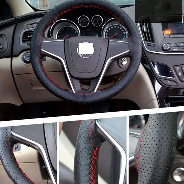 Car Steering Wheel Cover 38cm 40CM Hand Stitched DIY Microfiber Wheel Cover of Car With Needle and Thread Interior Accessories
