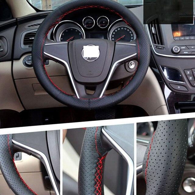 Osłona na kierownicę do samochodu 38cm 40CM ręcznie szyte DIY z mikrofibry osłona koła samochodu z igła i nić wyposażenie wnętrz