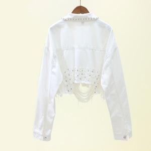 Image 4 - Autumn Streetwear Pink White Womens Jeans Jacket Coat Beading Hole Short Female Denim Jackets Long Sleeve Loose Cowboy Outwear