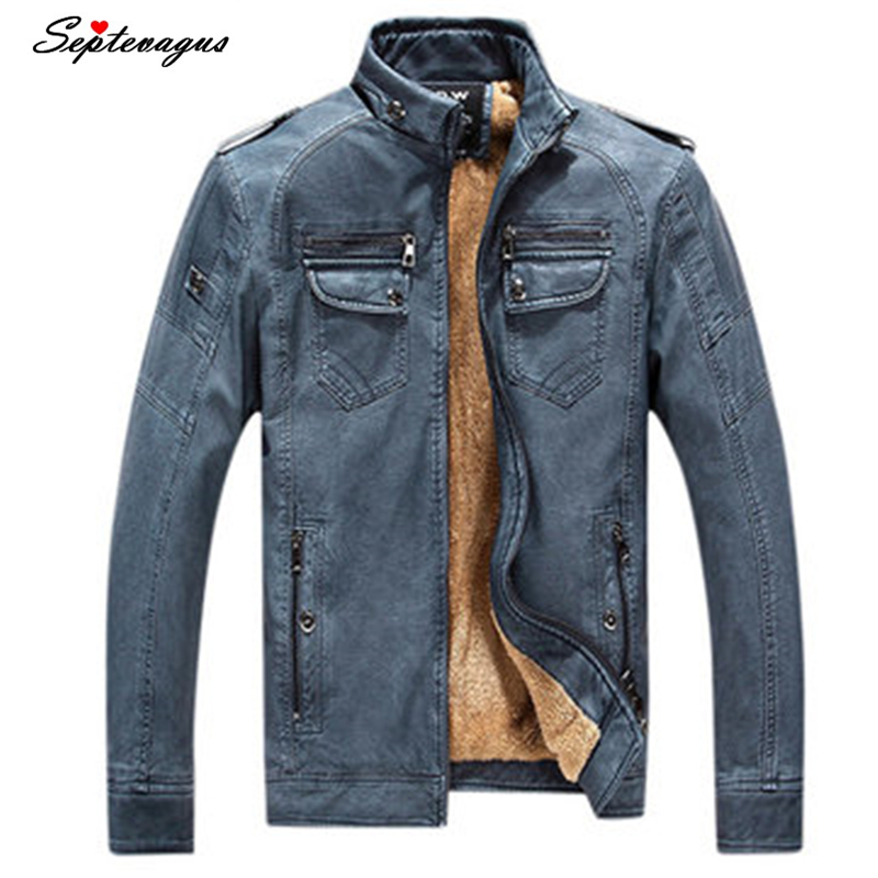 Fashion Mens Velvet Plus Thick Warm Leather Jackets Men Autumn Winter Clothing Male Business casual Coat