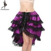 Purple Skirt Steampunk Satin Layering Women Skirts Ribbon Closure Plus Size 6XL Party Club Performance Sexy Adult Dance Skirt