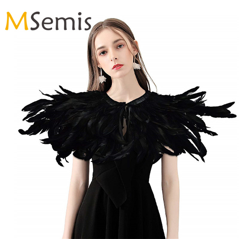 Fashion Iridescent Rooster Hackle Natural Feather Collar Cape Stole Shawl Collar Shrug Cape Feather Shawl With Ribbon Ties Party