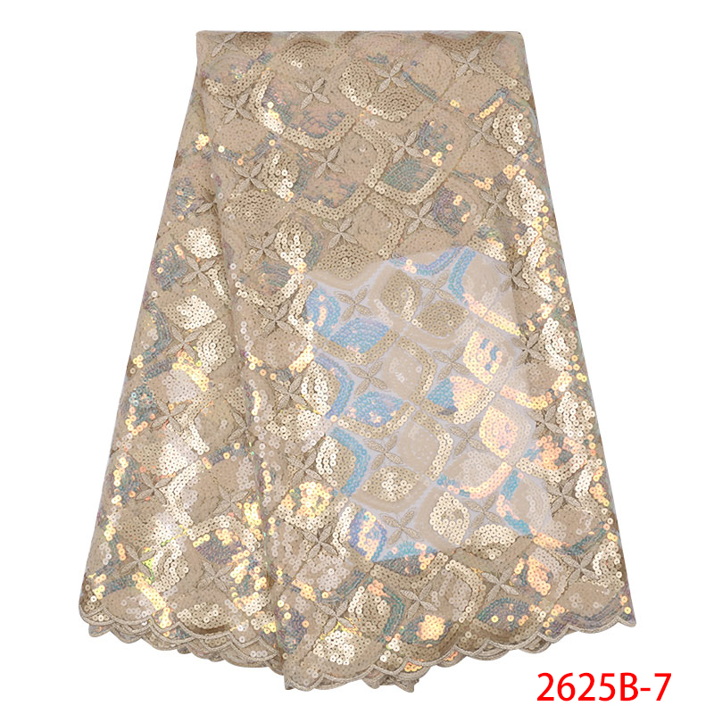 Latest African Tulle Lace Fabrics With Sequins High Quality Nigerian Lace Fabric 2019 High Quality Lace Sequin Fabric KS2625B-7