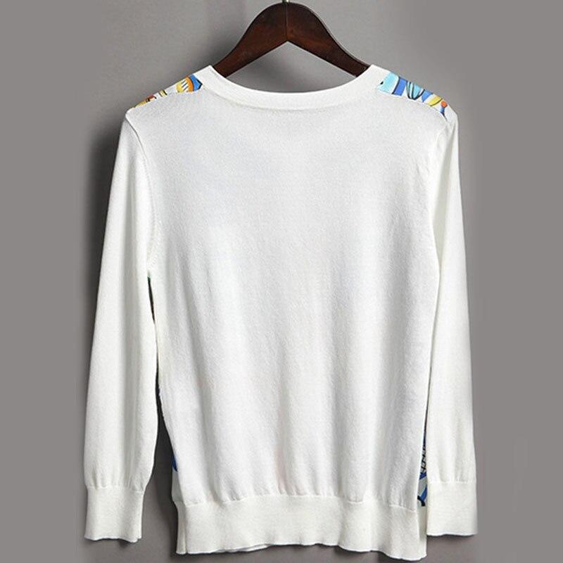Manteau Nouvelle Vêtements À 2018 White Longues Jumper Tricoté Mode Élégant Chandail Imprimer Femmes Vintage Cardigan Manches D'hiver Porcelaine Xqagw