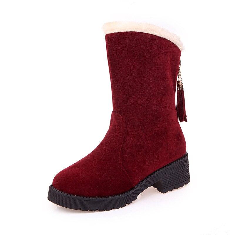 Las Grueso Algodón Zapatos Redonda Con Más Mujeres 2019 rojo Nuevo Botas Cabeza Terciopelo Europa Cálido Clásico Invierno Borla Tubo marrón Negro De Y wvI6OS