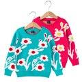 2017 Nueva Primavera Otoño Niños Niñas Suéter Largo de La Manga 1-6 T Decoración de Flores niñas Prendas de Punto Ropa de Niños para el bebé