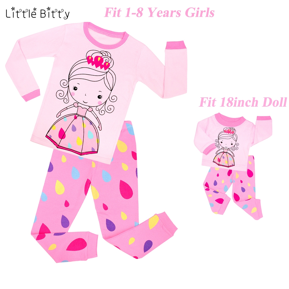 Brand New Summer Baby Girls Pajamas with 18 Inches Doll Pajamas Sets Pyjamas Kids Girls Ballet Dance Raindrop Pijamas Kids