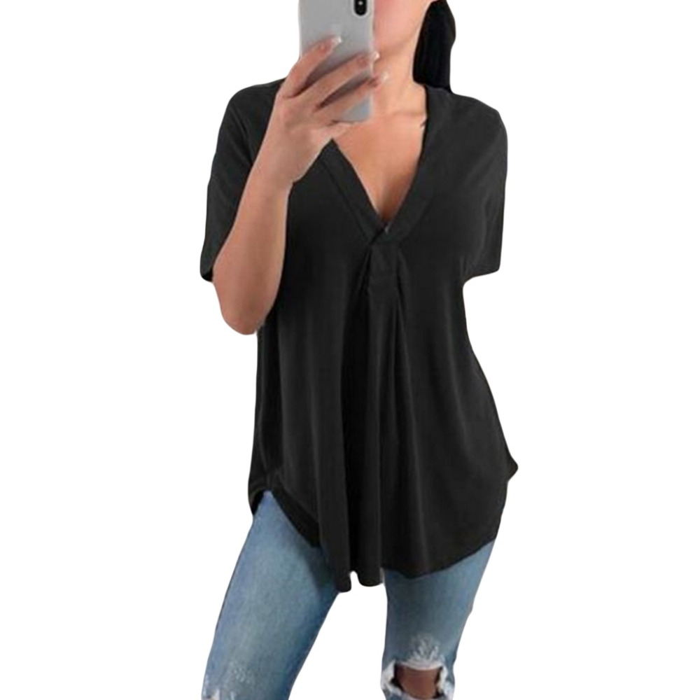 2019 Plus Size Women Summer Blouse Tops Casual Loose Short Sleeve Solid V-Neck Blouses Shirts