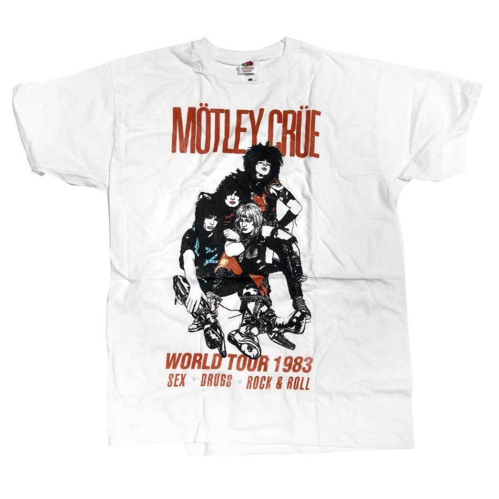 2018 Summer Style Motley Crue T Shirt - World Tour 83 100% Official Hair Metal Classic O-Neck Short Sleeve Print Tee