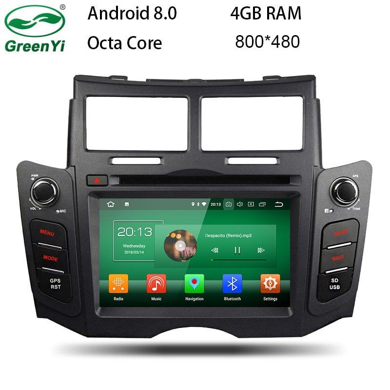купить GreenYi Android 8.0 8 Core 4G RAM Car DVD GPS For Toyota YARIS 2005-2007 2008 2009 2010 2011 WIFI Autoradio Multimedia Stereo по цене 23156.55 рублей