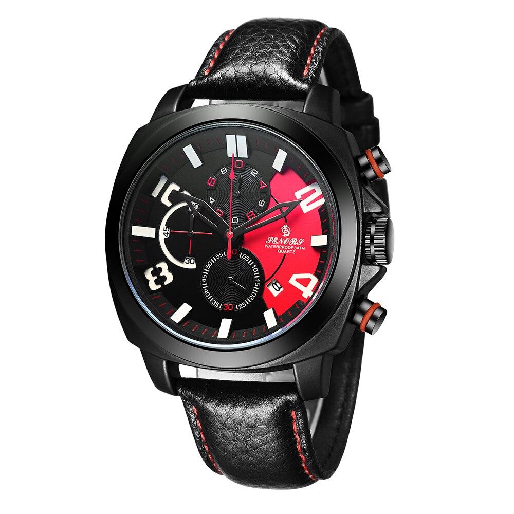 SENORS męskie zegarki sportowe wodoodporne 30M czarne męskie chronograf zegarek kwarcowy na rękę 2017 nowy szybki