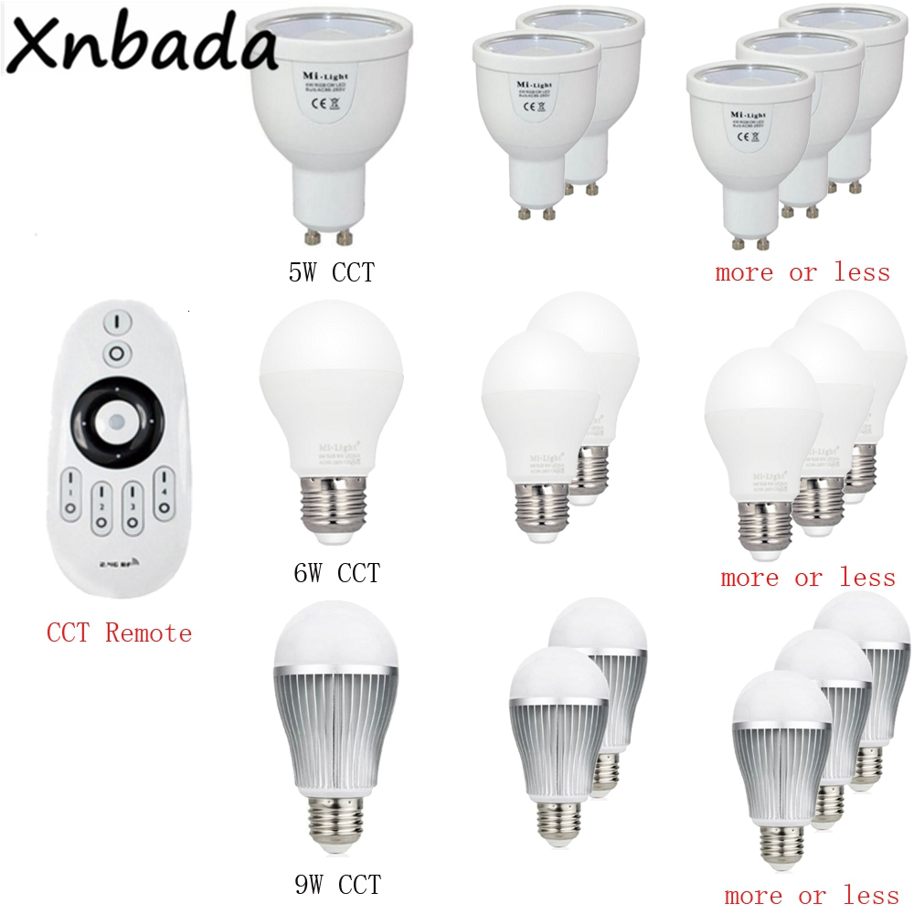 Image 2 - Milight 2.4G Led Bulb,MR16 GU10 E14 E27 Led Lamp Smart Wireless 4W 5W 6W 9W 12W CCT/RGBW/RGBWW/RGB+CCT Led Light-in LED Bulbs & Tubes from Lights & Lighting