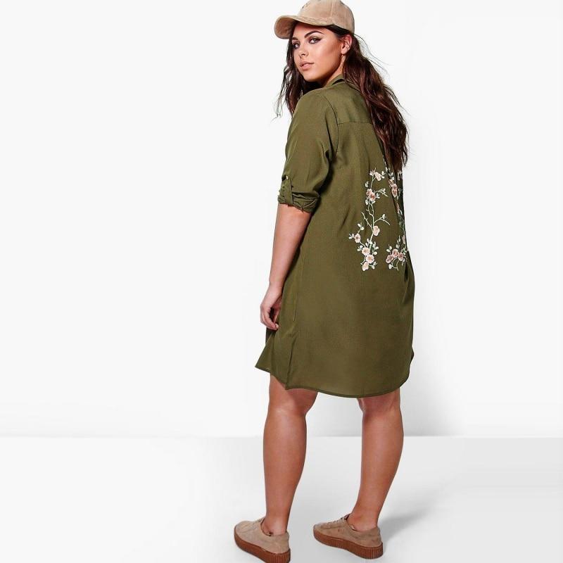army green shirt dress women plus size 6xl 5xl 2017 Spring Back ...