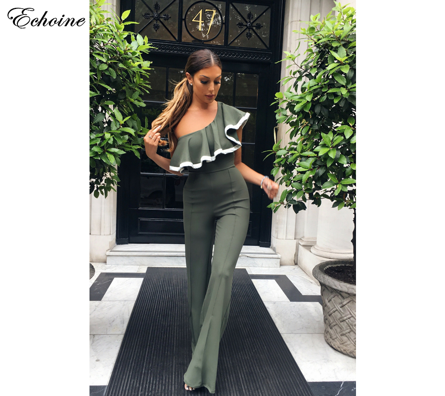 ECHOINE One Shoulder Jumpsuits 2018 Fashion Spring Red/Green/Black Overalls Sexy Elegant Wide Legs Rompers Womens Jumpsuit