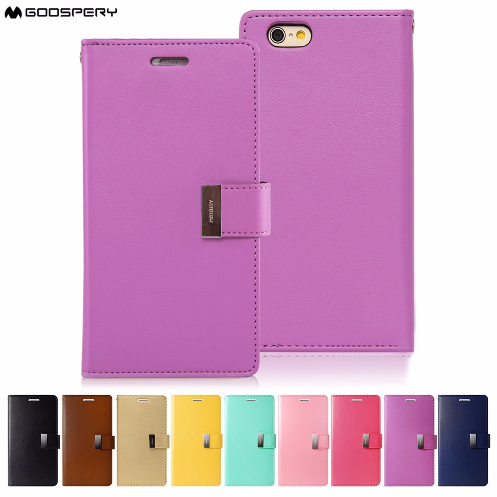 Original Mercury Goospery Rich Diary Wallet Case Cover Tri Fold For Iphone 6 Plus 6s Pearl Jelly Pink Apple 4 5c 5 5s Se 7 8 X In Cases From Cellphones