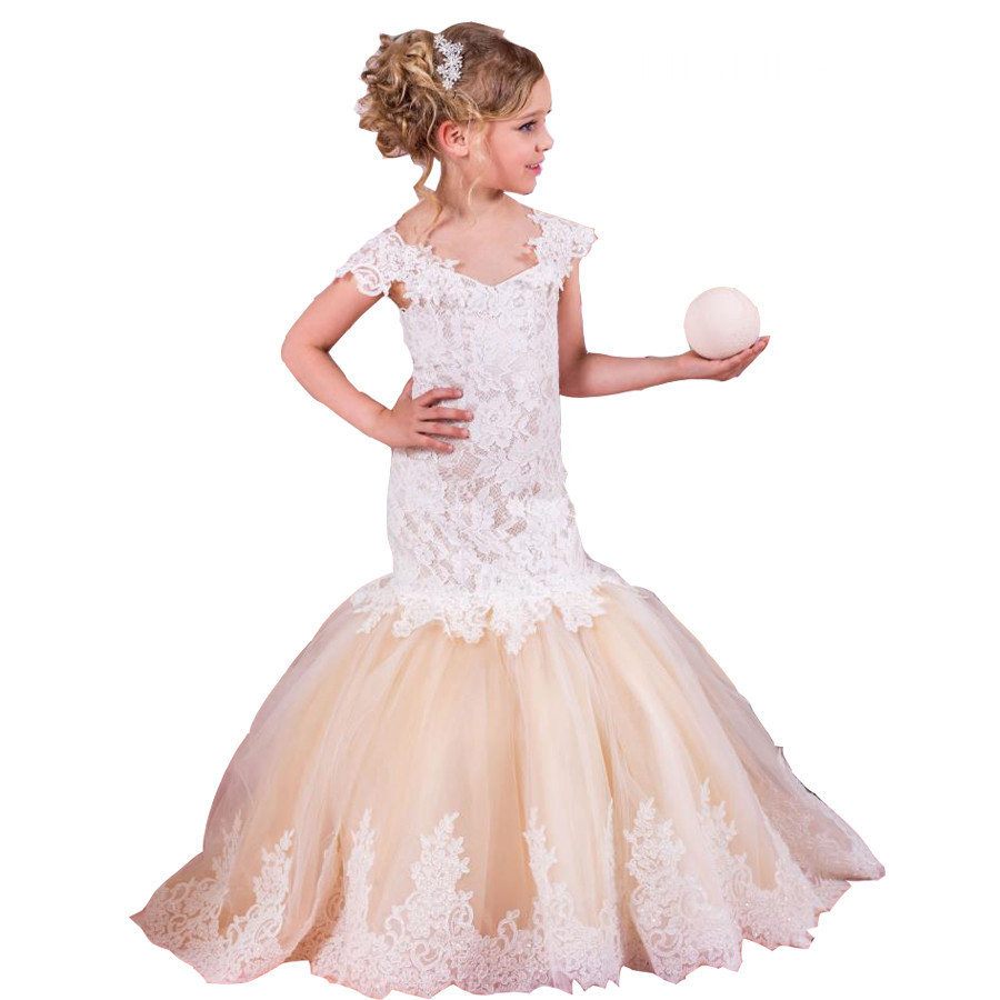 Flower Girl Dress For Weddings Mermaid Long Short Sleeves Pageant Dresses Short Sleeve Feather Appliques Prom Gowns Vestido charming off the shoulder long sleeves appliques mermaid wedding dress