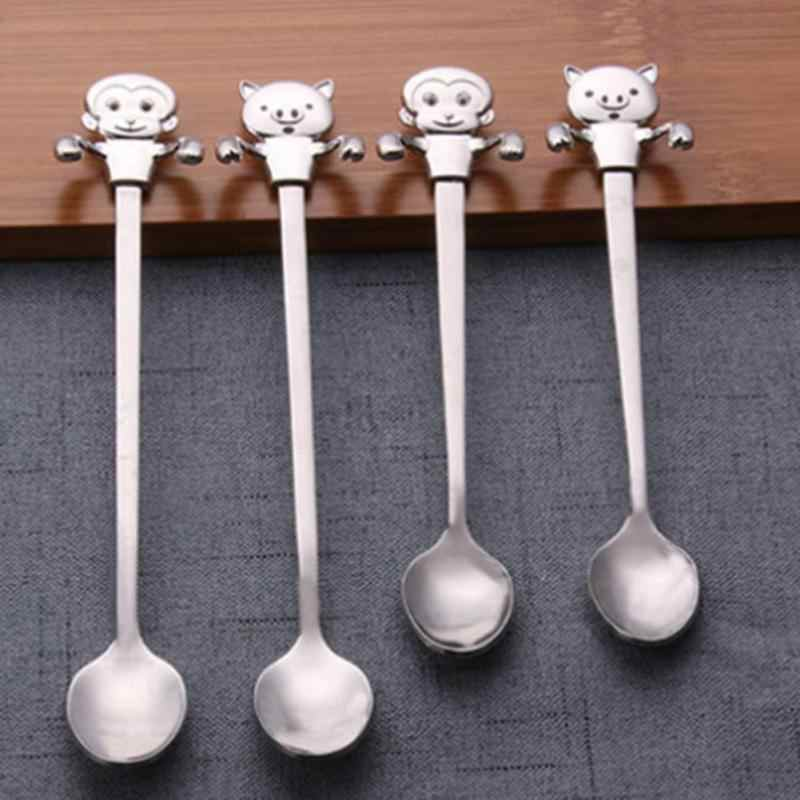 Cartoon Animal Long-handled Coffee Tea Spoon Monkey Piggy Spoons For Ice Cream Creative Cooking Utensils Kitchen Dishes A20