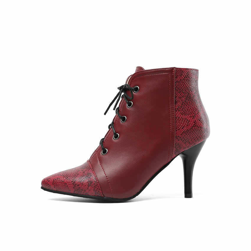 QUTAA 2020 Moda Karışık Renkli Yılan Derisi PU Deri yarım çizmeler Seksi Sivri Burun Ince Yüksek Topuk Lace Up Kadın Ayakkabı Boyutu 34-43