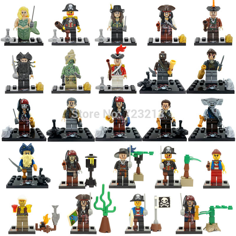 Single Sale Pirates of the Caribbean Figure Captain Jack Davy Jones Blackbeard Building Blocks Set Model Bricks Toys pirates of the caribbean lesaro captain jack edward mermaid davy jones silent mary carina smith building blocks kids toys pg8048