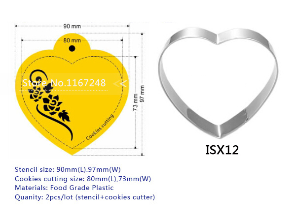 4pcs / Lot (3pc Stencil + 1pcs Cookies Cutter) Ürək - Mətbəx, yemək otağı və barı - Fotoqrafiya 6