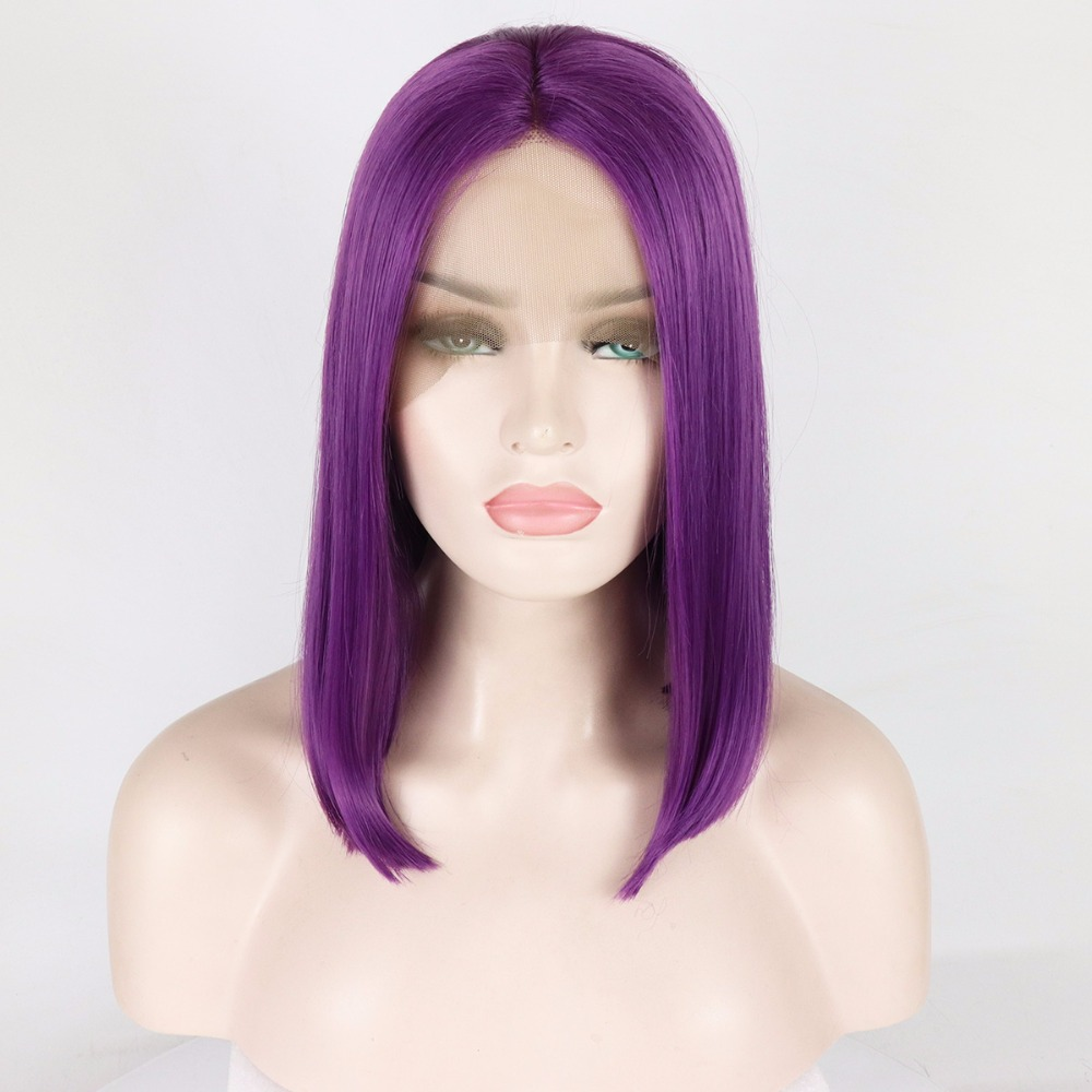 Fantasy Beauty Dark Purple Short Bob Wigs For Women High Temperature Synthetic Lace Front Wigs With Baby Hair