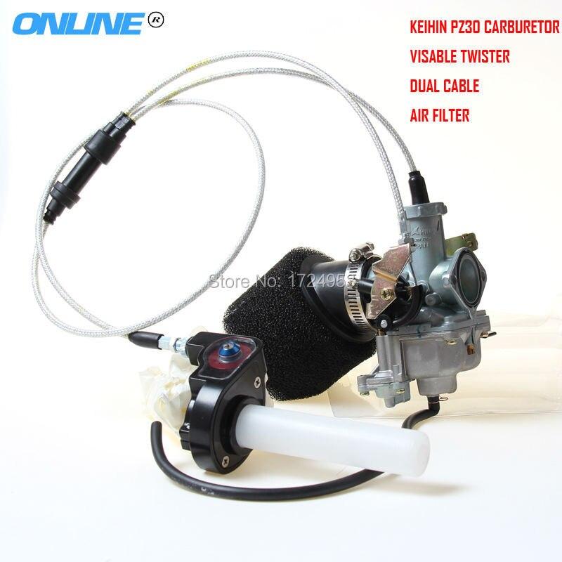 30mm PZ30 IRBIS TTR250 réglage de la pompe d'accélération du Jet de puissance carburateur + Twister Visiable + double câble pour KEIHI