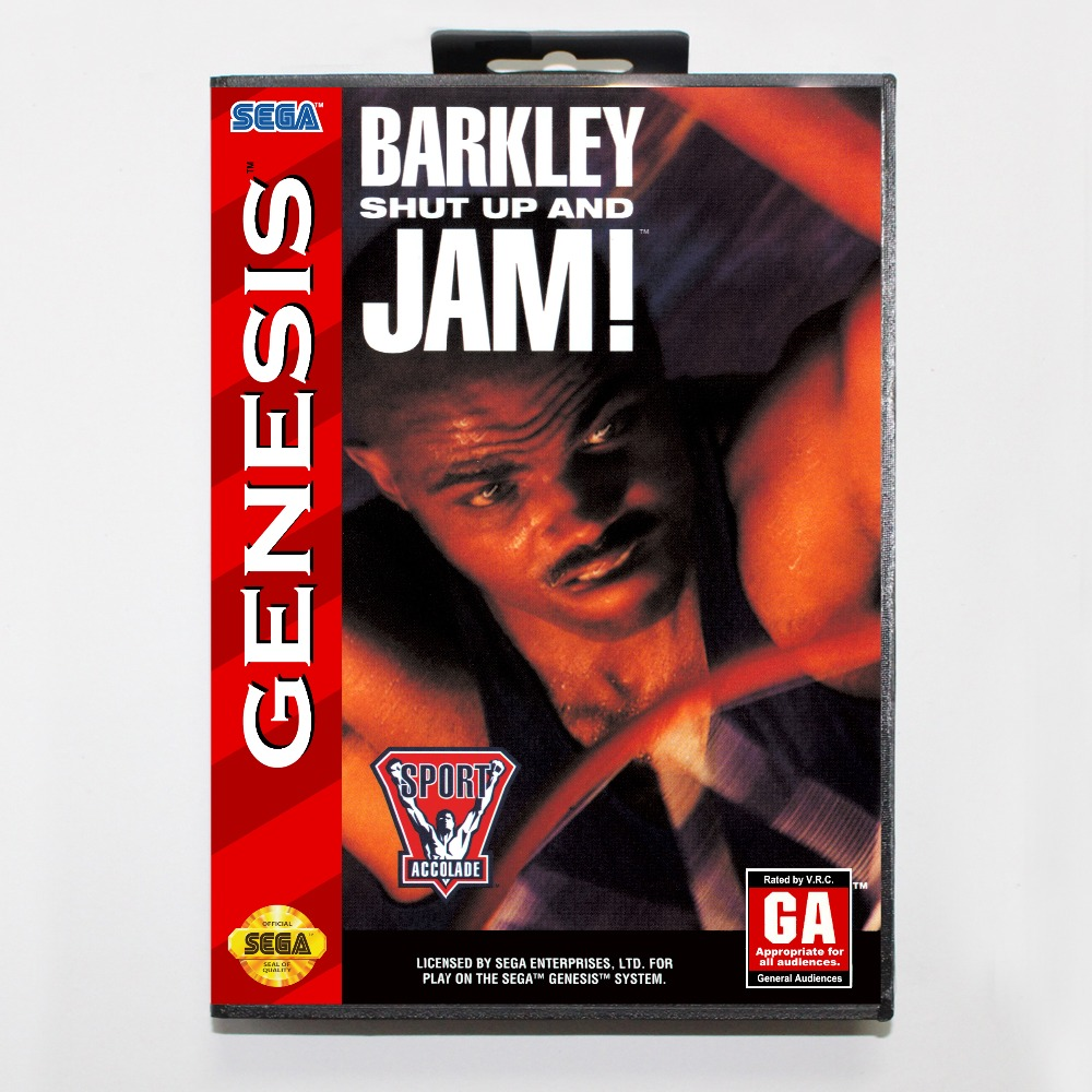 New 16 bit MD game card - barkley shut up and jam with Retail box For Sega genesis system