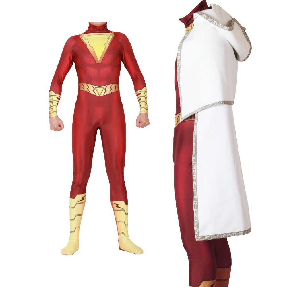 Shazam Captain Marvel Cosplay Costume Zentai Billy Batson Superhero Bodysuit Suit Jumpsuits Cloak.