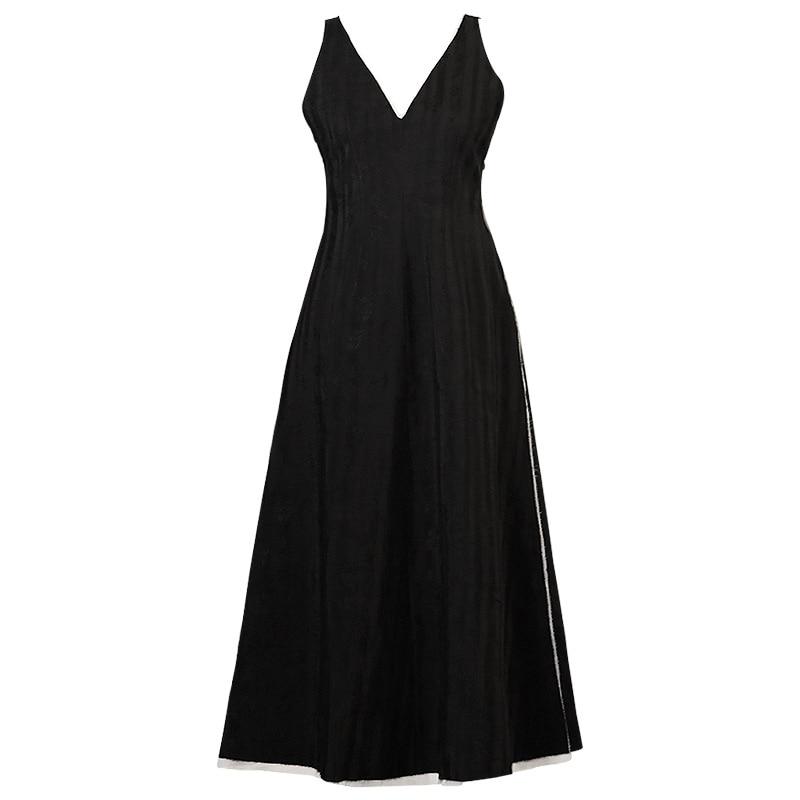 2019 Dark Black Minimalist Cool Dress Small Ramie Jacquard Sleeveless Vest Dress