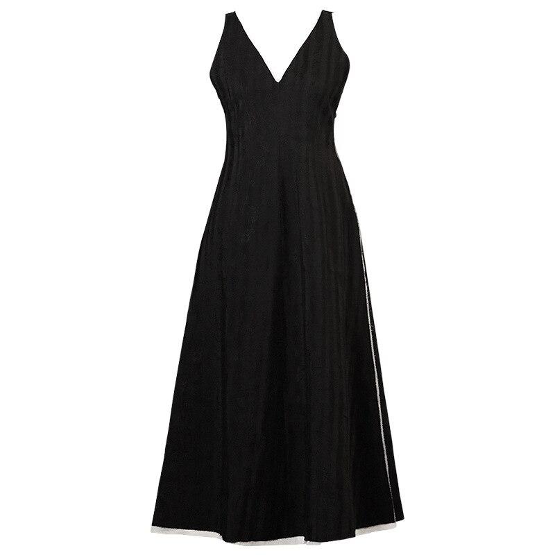 2019 escuro preto minimalista fresco vestido pequena jacquard sem mangas colete vestido de rami