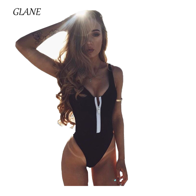 d1a291bb4bf9e New Sexy Women Zipper One Piece Swimsuit Zipper Front Plus Size Swimwear  Brazilian Bathing Suit Beach Wear Monokini Black