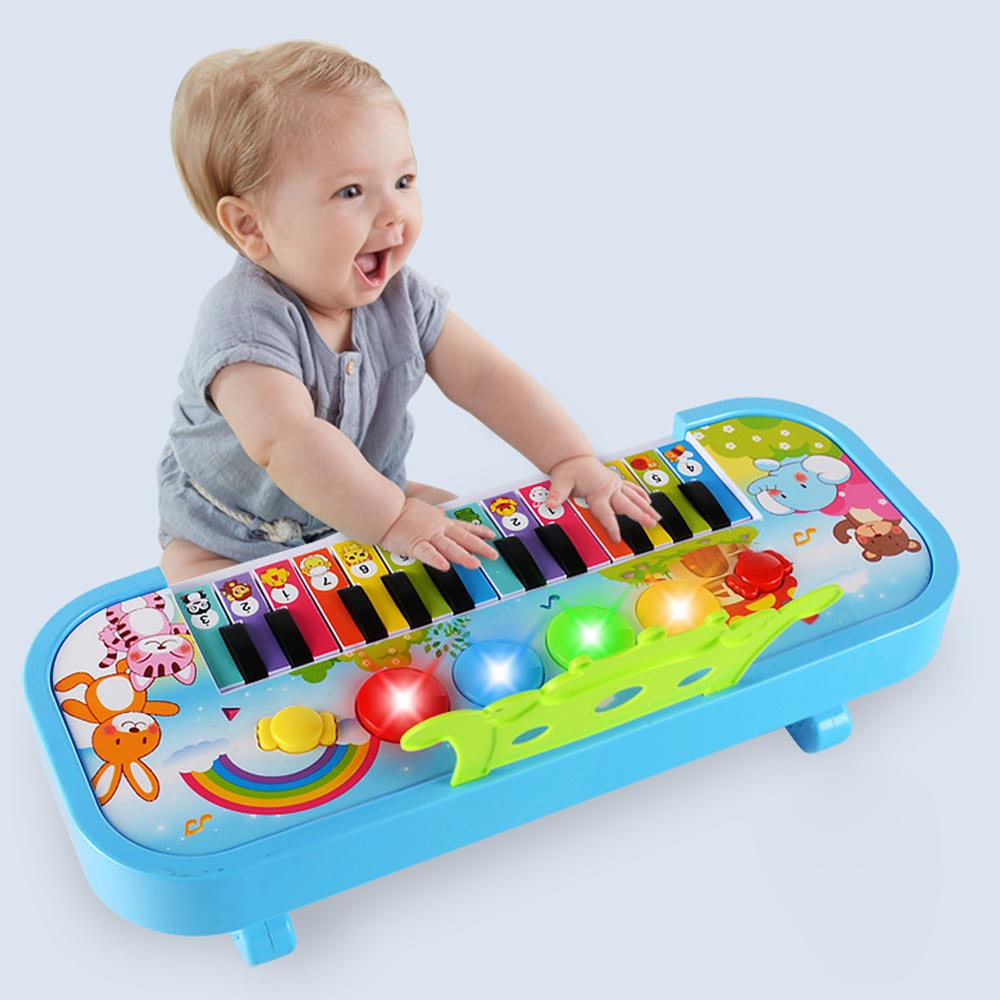 O jogo infantil teclado de piano eletrônico educacional brinquedos do bebê crianças meninos meninas dedos crianças música 24 chaves de plástico de presente