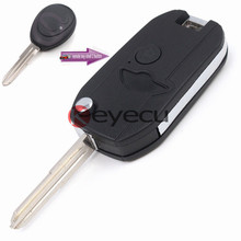 Keyecu Replacement Folding Shell Remote Key Case Fob 2 Button for Land Rover Discovery 2 1999-2004