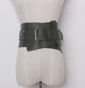 Image 2 - Nowe damskie ultra plus szerokie akcesoria do paska Faux Leather elastyczny gorset pas z przodu metalowa klamra pas biodrowy dziewczyna ubrać dekorację