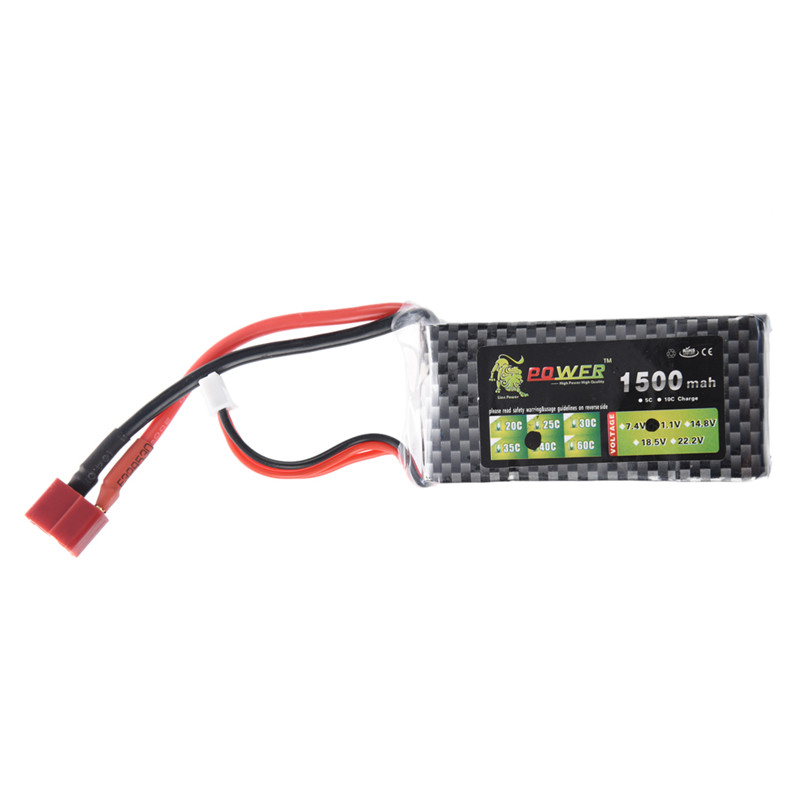 Lion Power 11.1V <font><b>1500Mah</b></font> 40C MAX <font><b>60C</b></font> <font><b>3S</b></font> <font><b>Lipo</b></font> Battery For RC Car Helicopter image