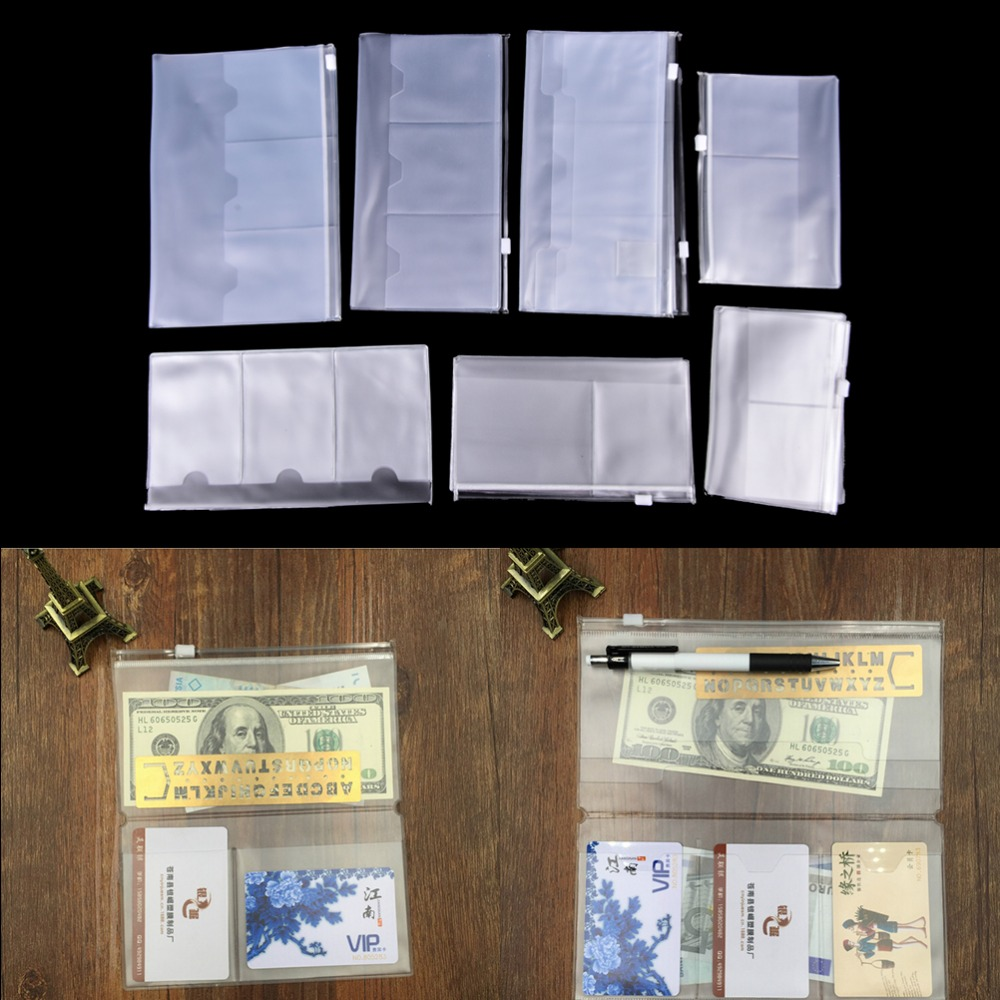Standard Traveler's Notebook PVC Pocket Zipper Bag Transparent Collection Pocker With Card Holders Plastic Pouches