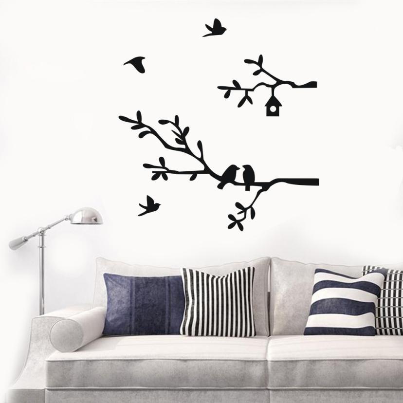 Creative Branch Bird Wall Stickers Removable Art Vinyl Mural Home Room Decor Living room Bedroom Wallpaper Drop Shipping