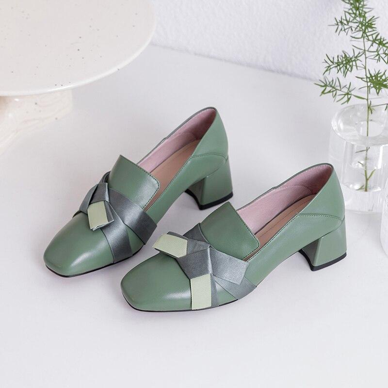 forme Dames vert Pompes Eshtonshero noeud 3 9 Cuir Chaussures Papillon Mariage Taille Carré Nude noir Femmes Pour En Talons De Plate Med Classique Femme knwO80P