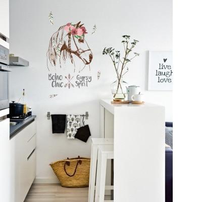 DIY Vintage Retro Poster Paard Muursticker Animal Bloem Woonkamer ...