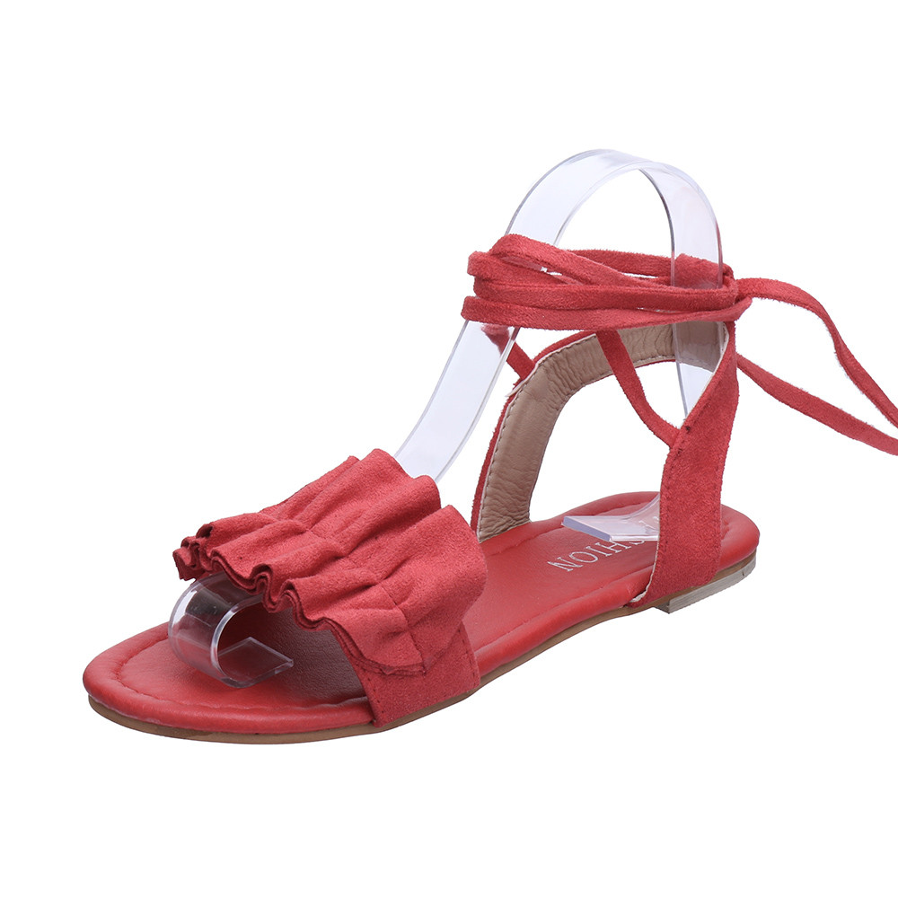 Rome Women Solid Color Sandals Flat With Ruffles Summer Beach Slides Stylish Cross Tied Sandals Fashion Flower Ladies Shoes stylish women s solid color pleated culotte
