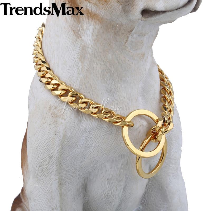 "Pet Dog Stainless Steel Curb Cuban Link 11MM Puppy Chain Collar Choker 18/'/'-26/"""