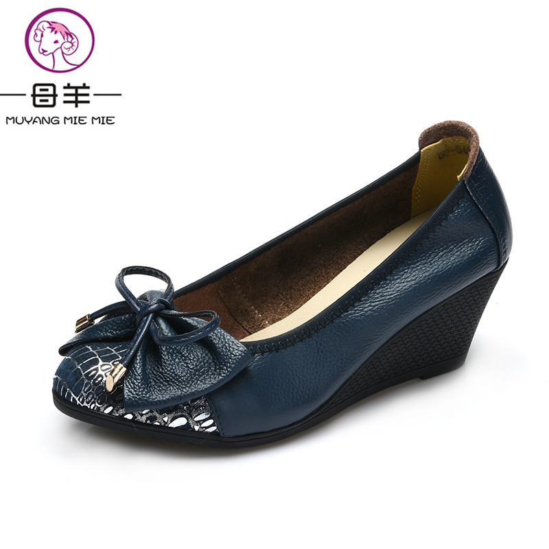 ФОТО MUYANG MIE MIE 2017 Spring Women Shoes Genuine Leather Casual Shoes Woman Wedges Shoes High Heels Fashion Women Pumps