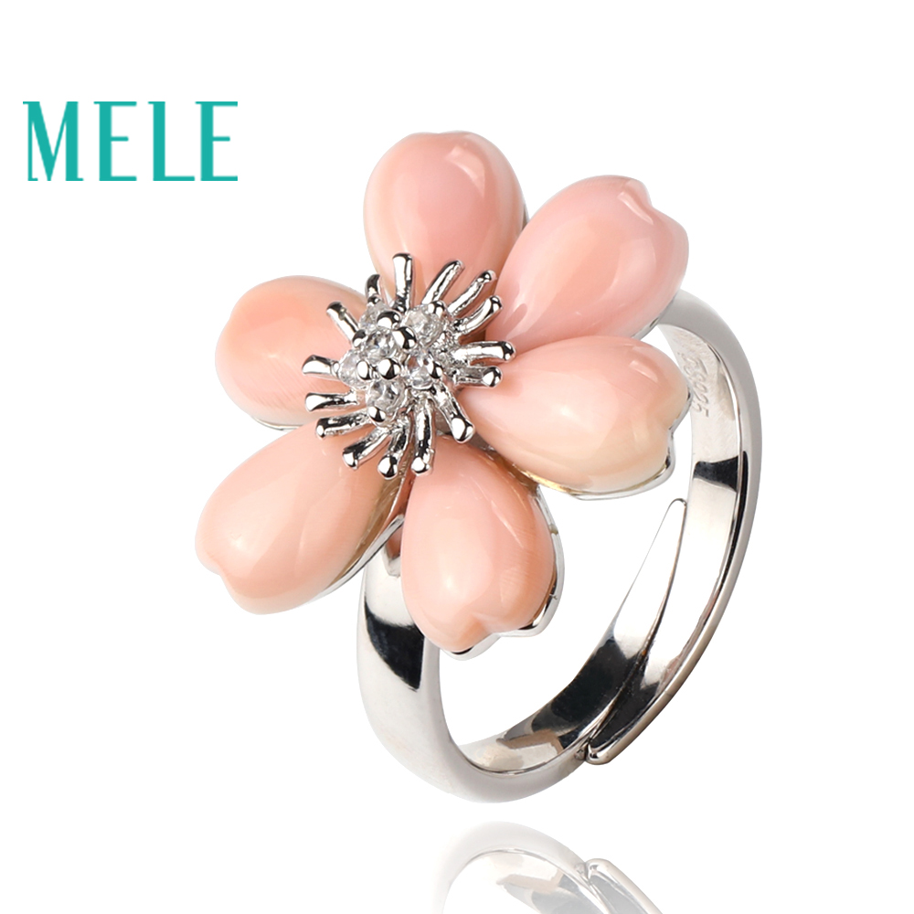 New arrival pink shell 925 sterling silver rings for women,fashion flower shape with exquisite processing charm jewelry