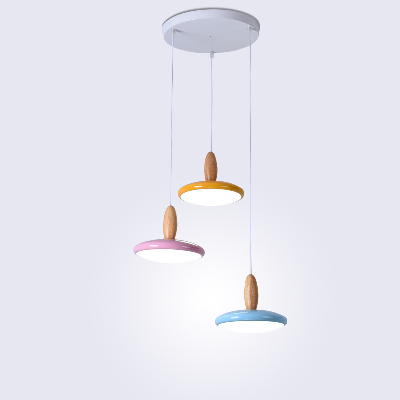 Meal chandelier modern minimalist Ma Caron LED table chandelier three long disc solid wood iron ceiling lamp iron ma page 7