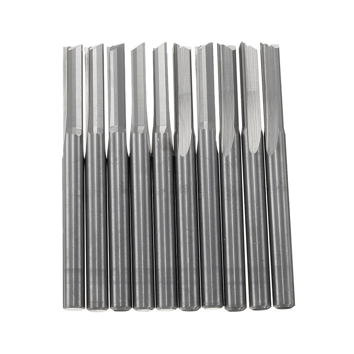 10pcs/set 3.175x12mm 2 Double Flutes Straight Slot Milling Cutter Router Cutting Bit Woodworking Engraving Machine  цены