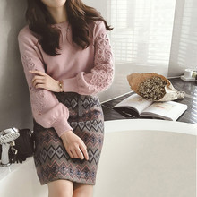 SMTHMA Women winter Korean embroidery knitting sweater two piece Tweed wool 2 piece